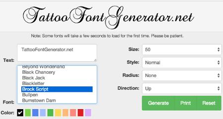 Verbazingwekkend Tattoo Font Generator | Tattoo Lettering BJ-99